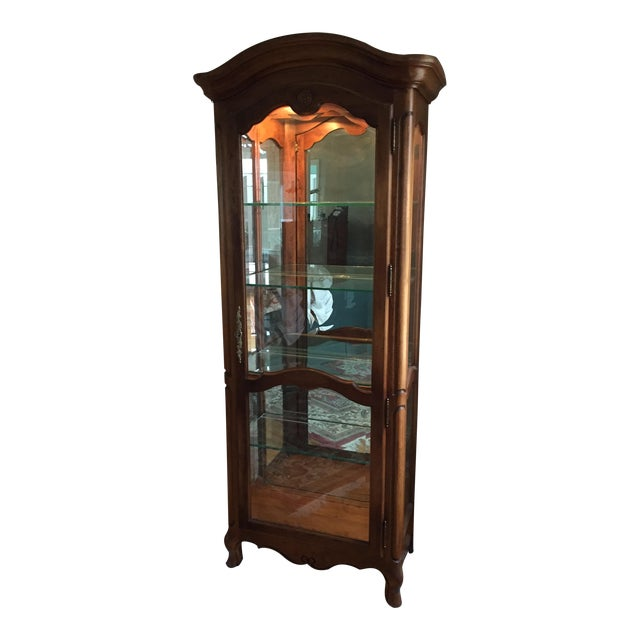 Ethan Allen Country French Lighted Curio Cabinet For Sale