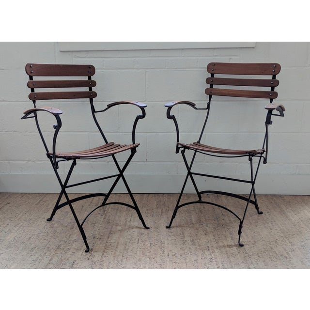 French Country Antique Iron & Teak Garden Chairs – a Pair For Sale - Image 12 of 12