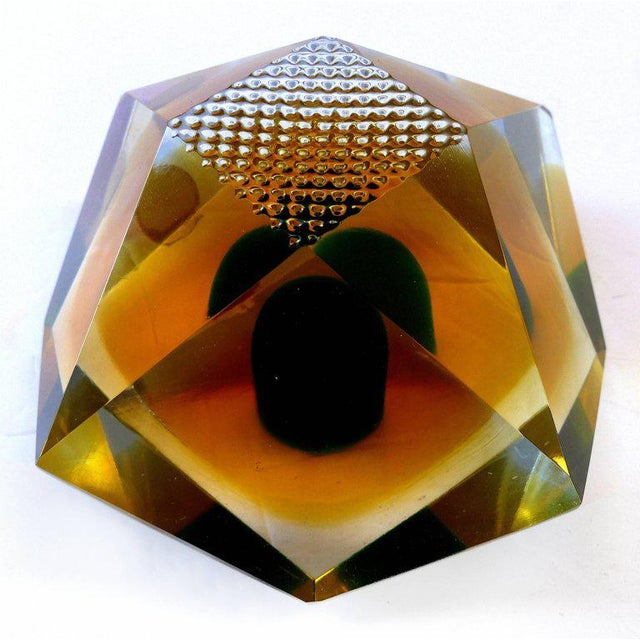 Murano Glass Brilliant-Cut Diamond Form Object D'art Paperweight in Box - 2 Pieces For Sale In Miami - Image 6 of 11