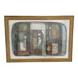 Image of Mid-Century Abstract Cubist Painting For Sale
