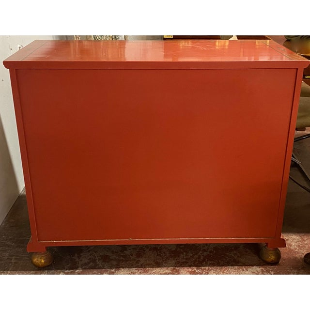 Chinese Red Chinoiserie Chest of Drawers by Baker Furniture C.1970s For Sale - Image 10 of 11