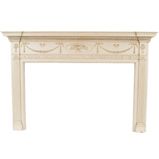 English Adam Painted Wood Mantel For Sale