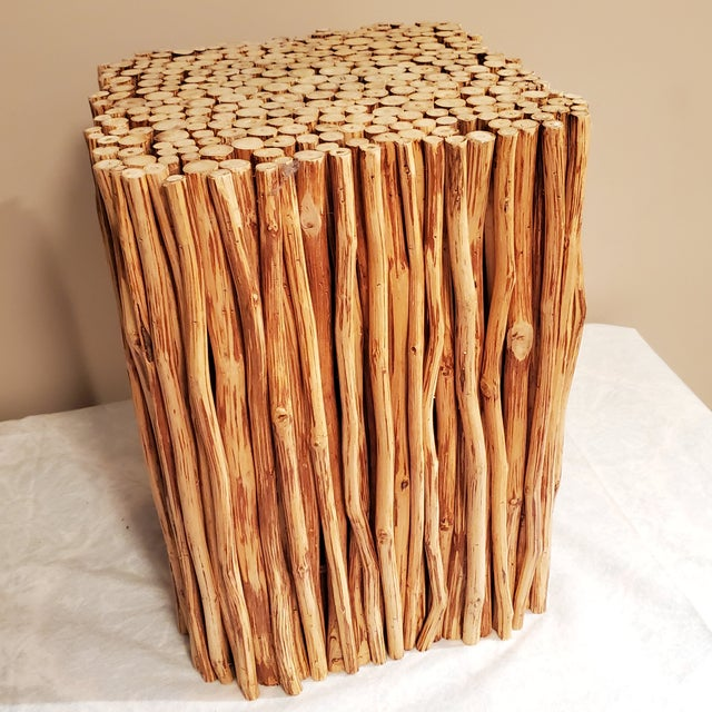 Wood Boho Chic Wood Sticks Bundle Square Accent Table For Sale - Image 7 of 7