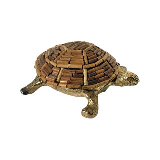 1970s Italian Brass and Bamboo Turtle Figurine For Sale