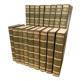 "Green Leather and Gilt French Books ""Les Femmes Celebres"" Dated 1971 - Set of 17 For Sale"