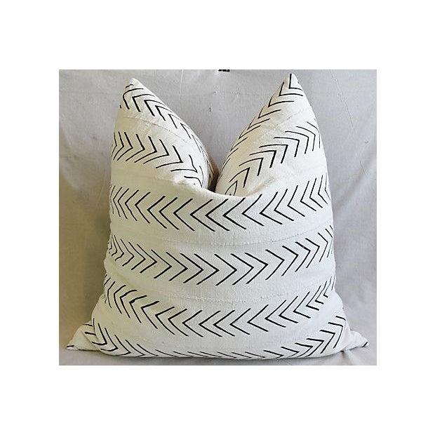 "Tan Bohemian Chic Jumbo 32"" Black & White Tribal Pillow/ Floor Cushion For Sale - Image 8 of 8"
