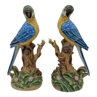 20th Century Chinoiserie Majolica Blue Parrot Figurines - a Pair