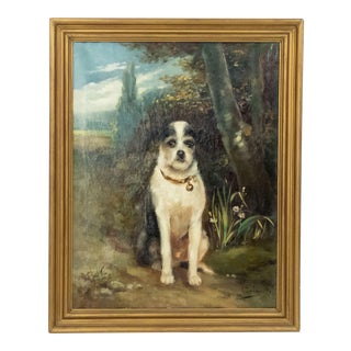 French Victorian Terrier Oil Painting For Sale