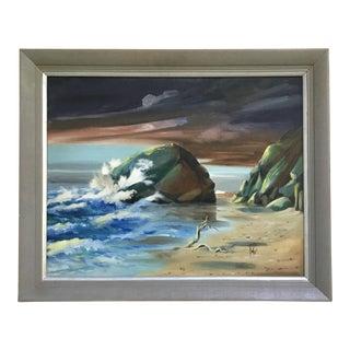 Large Framed Vintage Seascape Oil Painting For Sale
