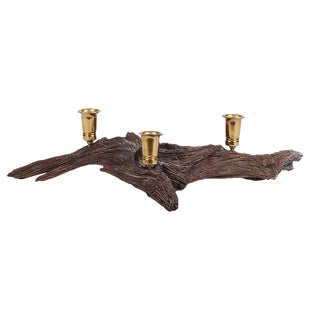 Mid-Century Driftwood & Brass Candleholder For Sale