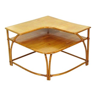 Heywood-Wakefield Bamboo Maple Corner Table For Sale