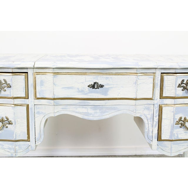 French Provincial White Shabby Chic Vanity Desk For Sale - Image 10 of 13