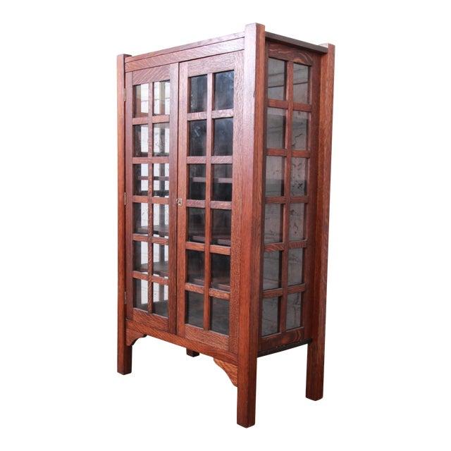 American Arts & Crafts Period Quartersawn Oak Bookcase, Circa 1900 For Sale