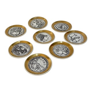 Fornasetti Style Greco Roman Plates Coasters Profile - Set of 8 For Sale