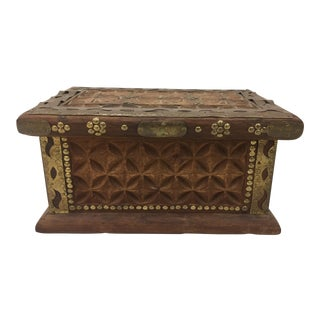 Antique Wooden Caddy Box With Metal Detail For Sale