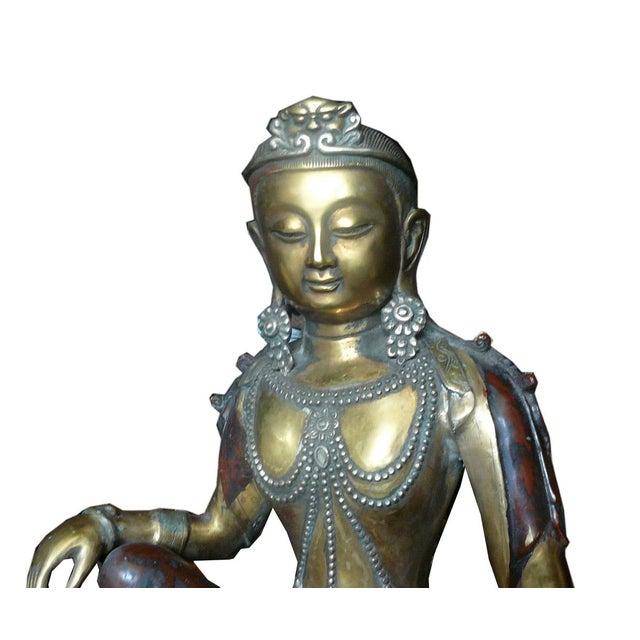 Chinese Handmade Metal Tara Statue For Sale - Image 5 of 6