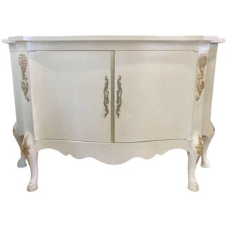Louis XV Style Parcel-Gilt and Paint Decorated Two-Door Cabinet Server Sideboard