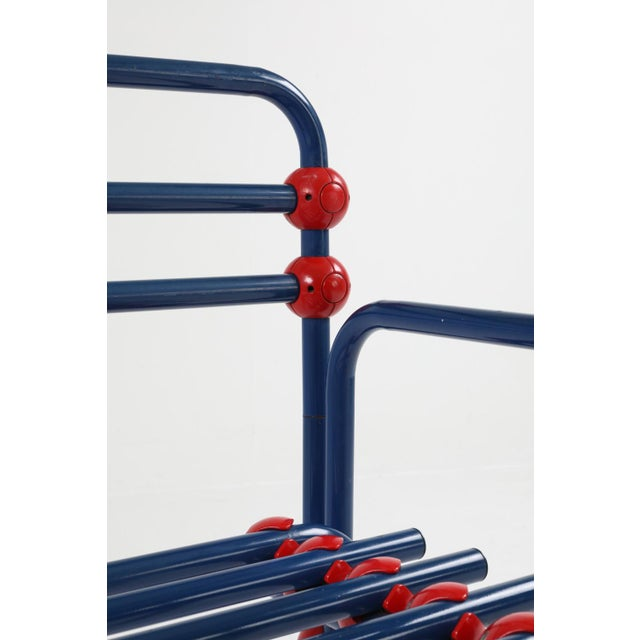 1970s Italian Postmodern Pair of Armchairs in Red and Blue For Sale - Image 5 of 8