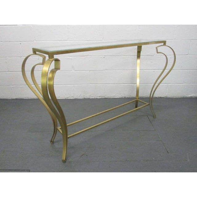 Hollywood Regency Iron Gold Gild Console Table - Image 4 of 6