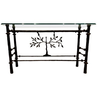 Stunning Giacometti Style Steel and Glass Console Table For Sale