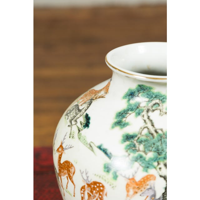 1920s Chinese Porcelain Vase with Gilt Accents, Deer and Mountain Motifs For Sale - Image 4 of 13
