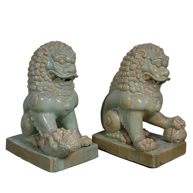 Asian Antique Chinese Qing Era Porcelain Foo Dogs-A Pair For Sale - Image 3 of 13