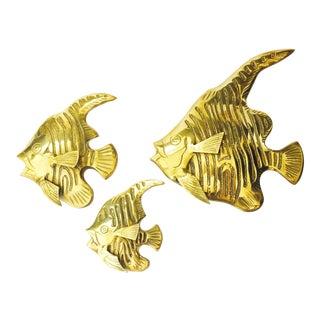 Vintage Brass Angel Fish Wall Hangings - Set of 3