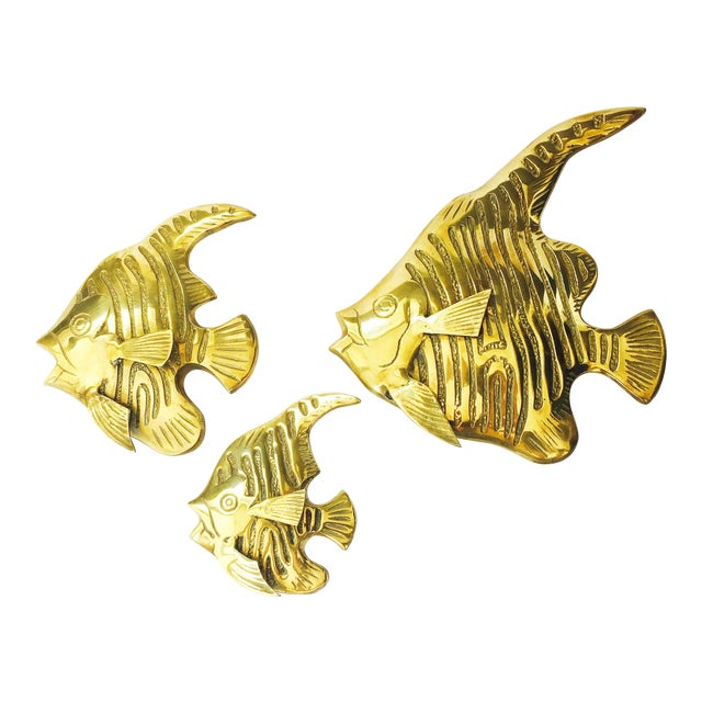 Vintage Brass Angel Fish Wall Hangings - Set of 3 For Sale