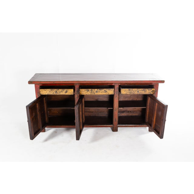 Wood Chinese Sideboard With Three Drawers and Three Doors For Sale - Image 7 of 9