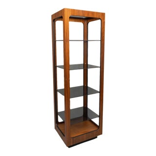 1960s Mid-Century Walnut Etagere Bookcase With Glass Shelves For Sale