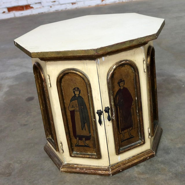 Boho Chic Vintage Hand Painted Octagon Drum Side Table Cabinet Attributed to Arte De Mexico For Sale - Image 3 of 13