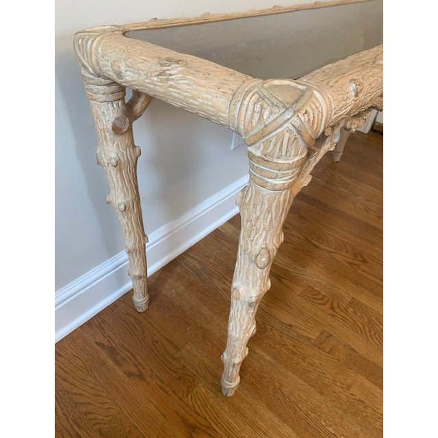 Mid 20th Century Faux Bois Carved Wood Console With Glass Insert For Sale - Image 5 of 8