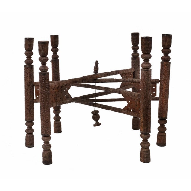 Anglo-Indian Asian Indian Style Walnut Carved 6 Legged Folding Table Base For Sale - Image 3 of 3