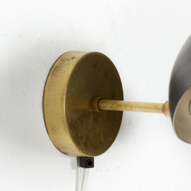 1950s Black on Brass Italian Double Wall Sconce Antony After Serge Mouille Mid Century Modern - a Pair For Sale - Image 5 of 9
