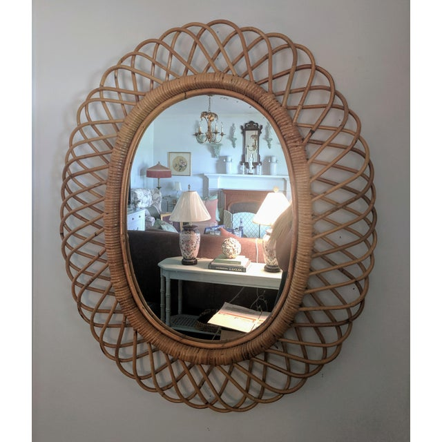 Brown Italian Rosenthal Netter Coiled Wicker Oval Mirror For Sale - Image 8 of 8