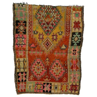 Vintage Berber Moroccan Rug With Tribal Style - 5′7″ × 7′4″ For Sale