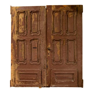 Antique Architectural Large Original Red Painted Heavily Paneled Doors For Sale