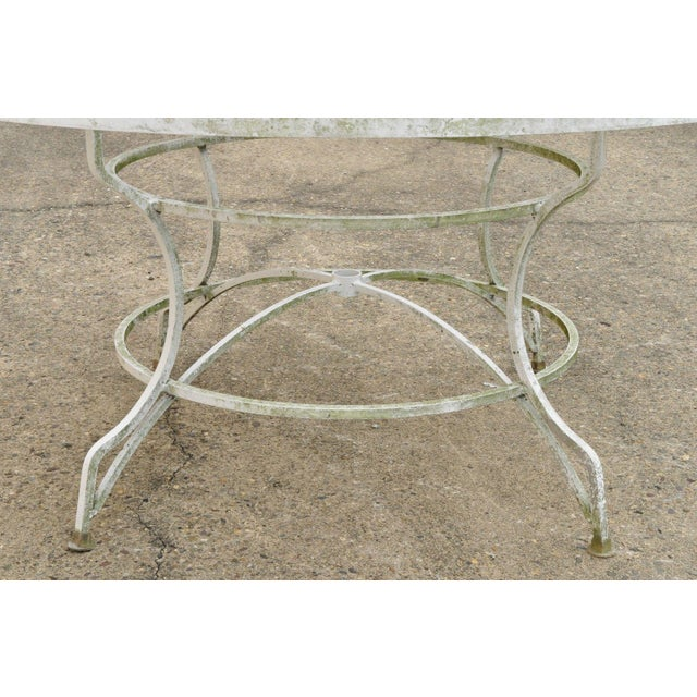 Late 20th Century Vintage Cast Aluminum Scroll Arm Metal Patio Dining Table & Chairs - Set of 7 For Sale - Image 9 of 13
