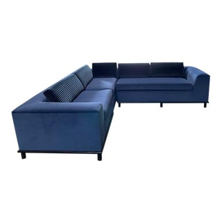 Modern Blue Sectional With Metal Base - Set of 2 For Sale