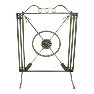 French Art Deco Neoclassical Style Wrought Iron Fireplace Screen With Arrows, Circa. 1930 For Sale