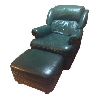 Green Leather Austin Wingback Recliner Chair & Ottoman