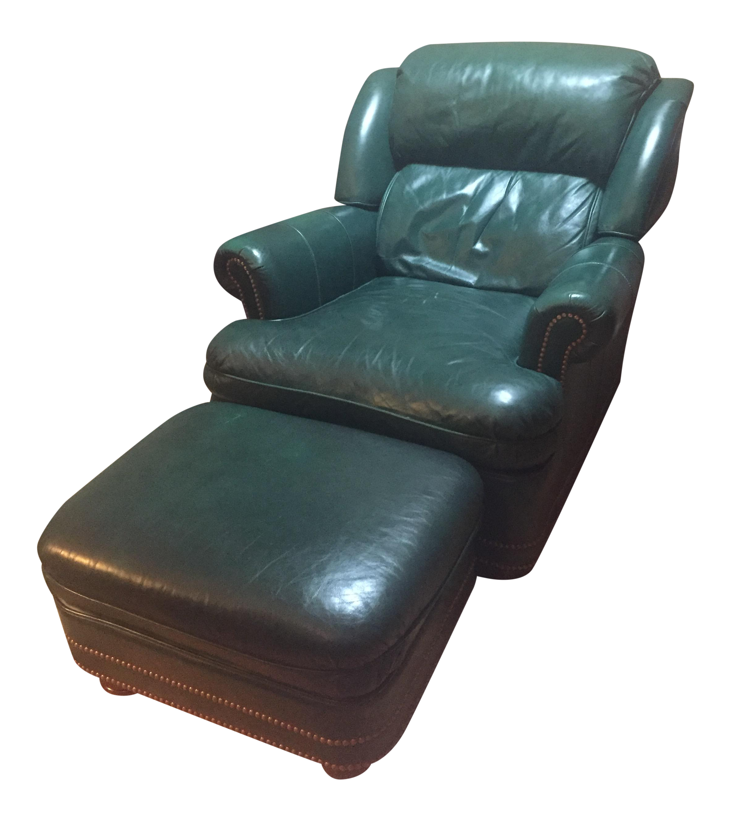 Green Leather Austin Wingback Recliner Chair U0026 Ottoman