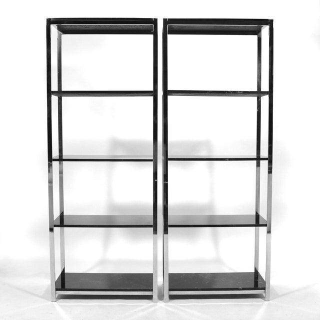 Pair of Chrome Framed Etageres in the Manner of Milo Baughman - Image 9 of 11