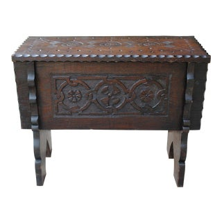 Antique English Carved Oak Foot Stool Bench Lift Top Box Small Table Arts & Crafts For Sale