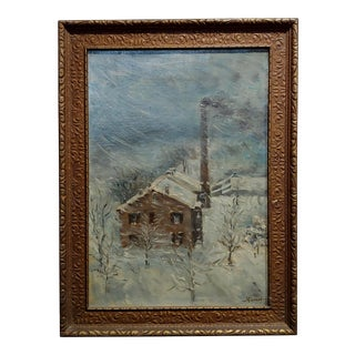 """L. Fischer """"Power Plant in Dayton,OH During a Storm"""" Oil Painting C. 1900s For Sale"""