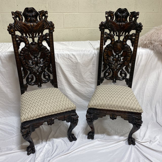 Carved Wood North Wind Face Gothic Chairs For Sale - Image 13 of 13