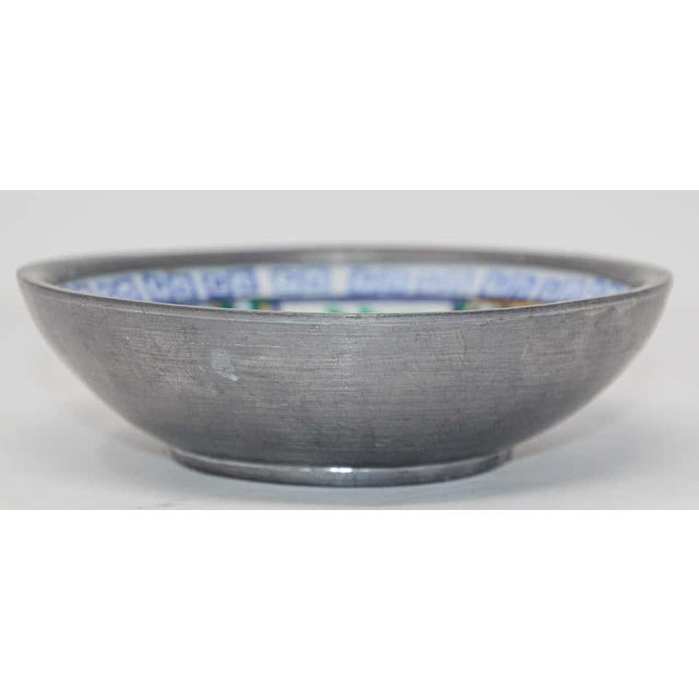 Vintage Blue and White Porcelain Bowl, Catchall Encased in Pewter For Sale - Image 12 of 13