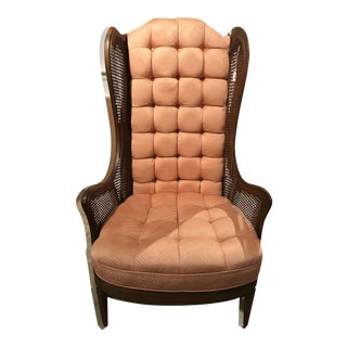 Salmon Caned High Back Chair For Sale