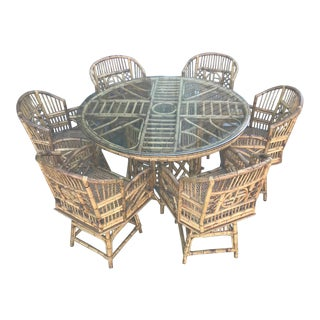 Boho Chic Bamboo Dining Set For Sale