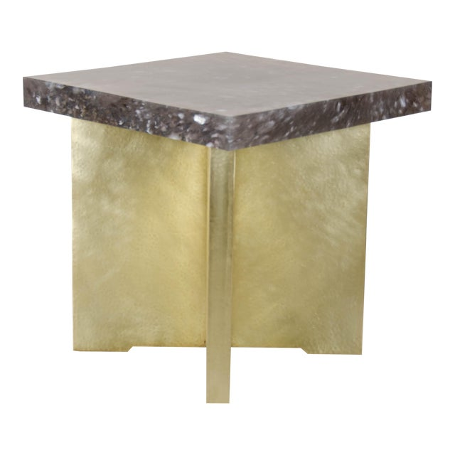 Quad Brass Table Set with Smoke Crystal Top by Robert Kuo, Limited Edition For Sale